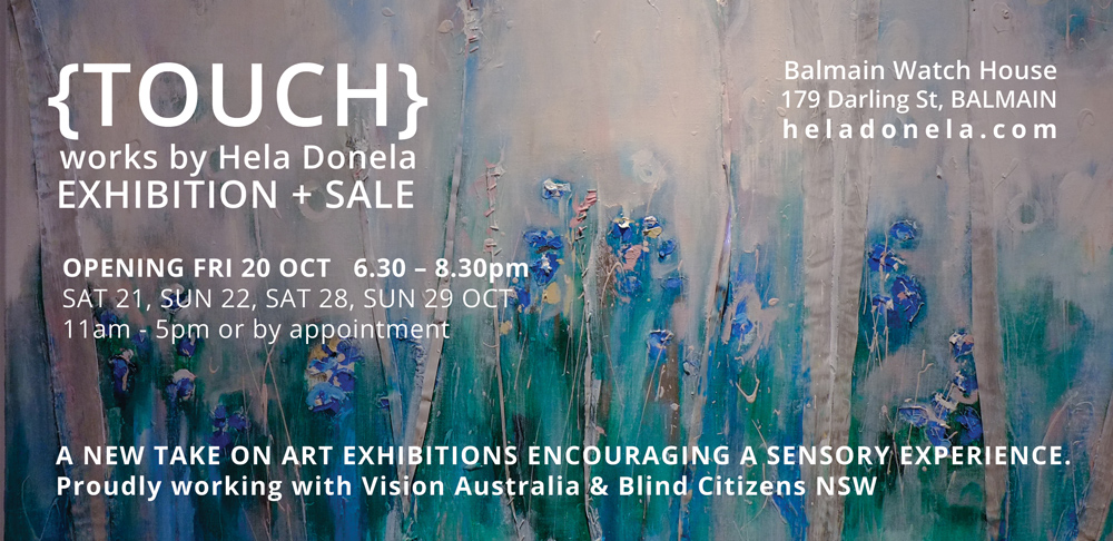 hela donela art exhibition invitation to TOUCH at Balmain Watch House opening on 20th October 2017