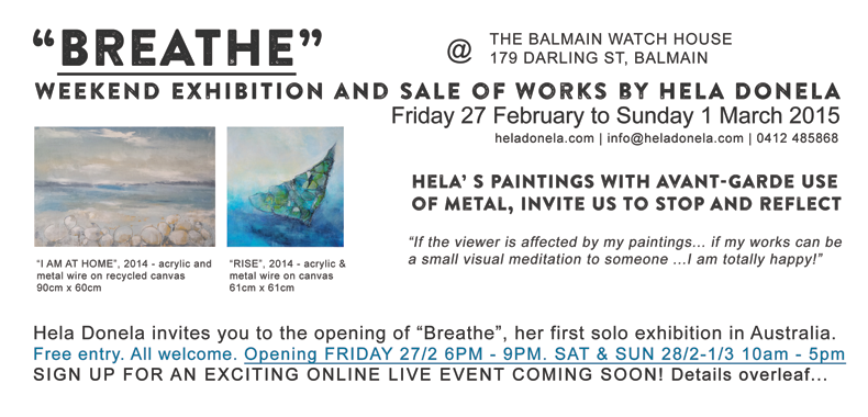 """Breathe"" by Hela Donela exhibition in Balmain"