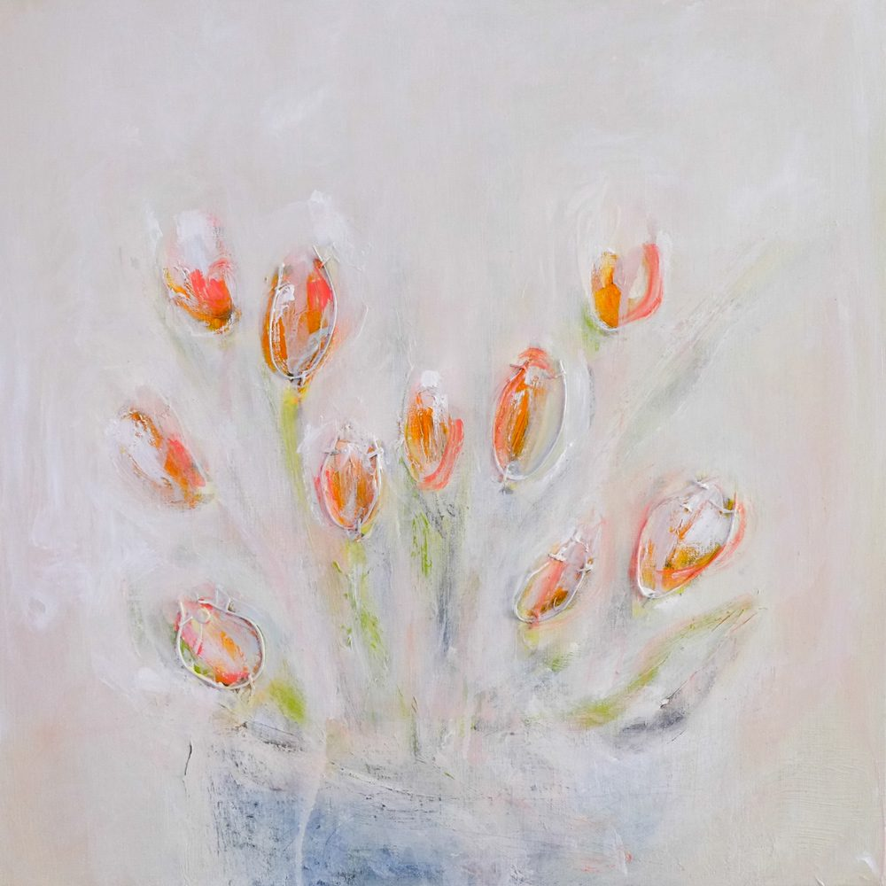 pink tulips original painting by hela donela