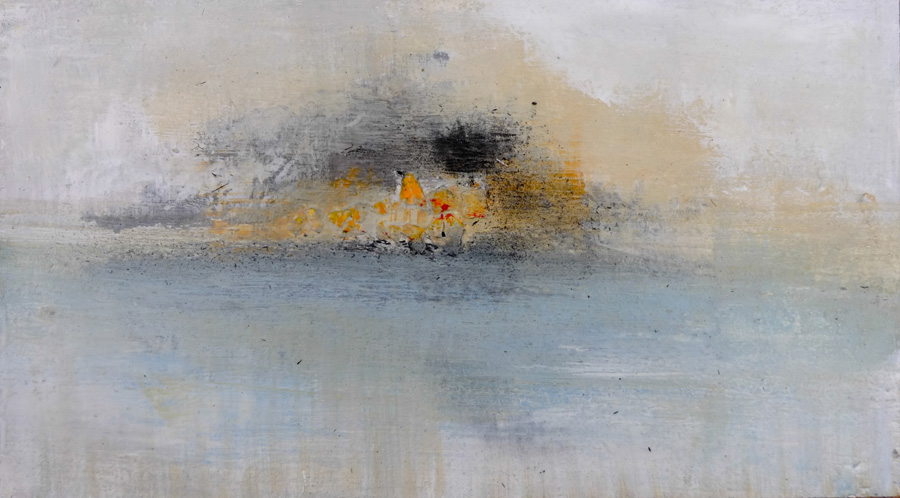 callala smoke - 9x5 impressionistic painting by hela donela