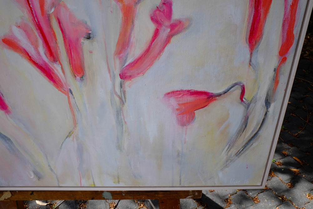 detail of hela donela original painting called freesias