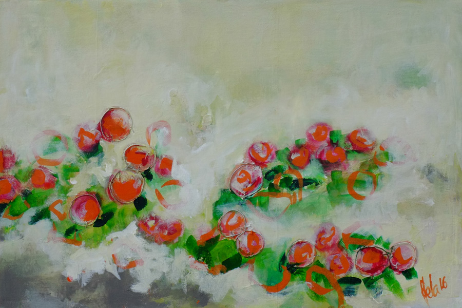 lingonberries on a bed of lichen, original painting by hela donela inspired by finnish forests