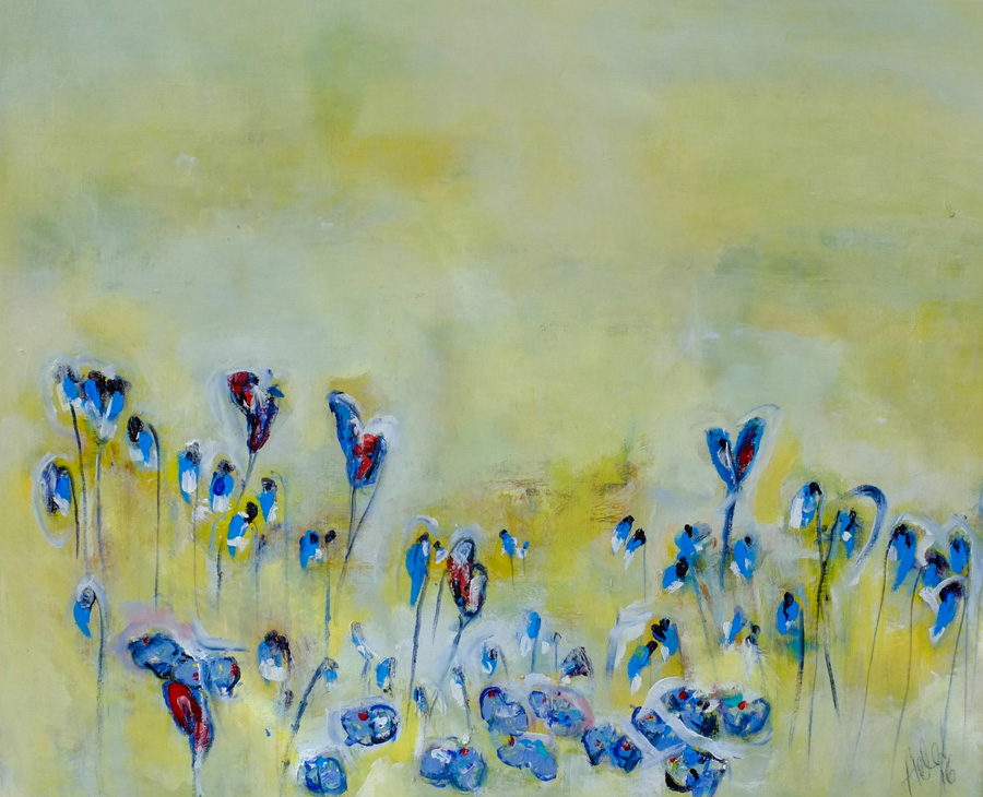 scandinavian bluebells, original painting by hela donela