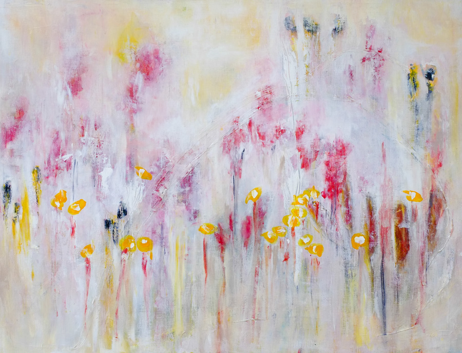 original painting by hela donela: yellow flowers in a field of willoherb