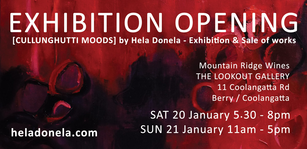 Cullunghutti Moods opens on January 20th Mountain Ridge Wines Lookout Gallery