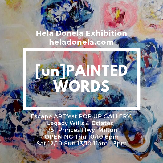 hela donela exhibition unpainted words invitation as part of milton gallery walk excape artfest